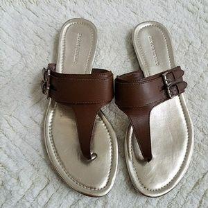 Banana Republic Brown Buckle Thong Sandals